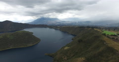 Volcanic Crater Lake - The Cuicocha lake with an island in the middle Stock Footage