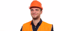 Optimistic Engineer Man Smile Looking Interview and Saluting Hello Hand Gesture Stock Footage