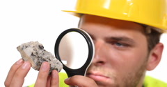 Confident Engineer Man Gemologist Specialist Checking Magnifying Glass Quartz Stock Footage