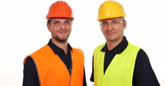 Trustful Engineer Men Portrait Looking Camera and Showing Ok Sign Hand Gestures Stock Footage
