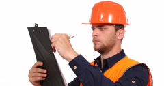 Proud Constructor Engineer Man Looking Clipboard Examining Security Protection Stock Footage