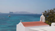 Beautiful details of greek island - typical house with white walls, pink flowers Stock Footage