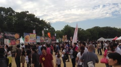 Crowds at a Japanese Festival Stock Footage