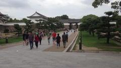 Entrance to Osaka Castle Stock Footage