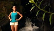 Young woman admire amazing waterfall in Bali super slow motion, 240Fps Stock Footage