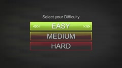 CI000095- Generic Game Interface - Select Difficulty Stock Footage