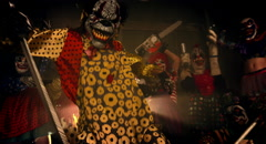Clowns party. Horror Halloween. Stock Footage