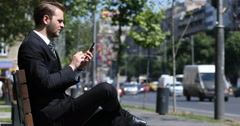 Busy Business Man Sitting Comfortable Bench Using Smart Telephone City Rush Hour Stock Footage