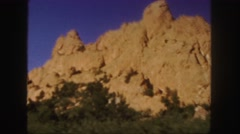 1958: perfect sun on natural rock formation western roadtrip travels COLORADO Stock Footage