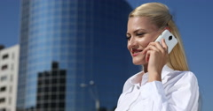 Business Woman Mobile Phone Talk Edifice Building Facade Cooperation Dialogue Stock Footage