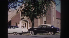 1958: magnificent church with lot of devotees entering it COLORADO Stock Footage