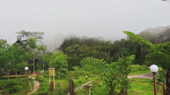 Closeup Yersin House Site in White Thick Mist from Mountains Stock Footage