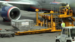 """Airport workers in the work overload luggage containers and pallets """"Trepel"""" Stock Footage"""