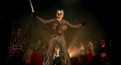Halloween horror clowns party. Scary clown on stilts. Stock Footage