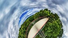 Little Tiny Planet 360 Degree, Kiev, Park Bridge Stock Footage