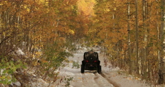 Sport recreation off road winter snow autumn leaves fast DCI 4K Stock Footage