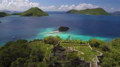 Aerial view of Waterlemon Cay, St John, United States Virgin Islands Stock Footage