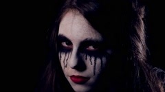 Halloween scary girl close-up Stock Footage