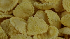 Rotating corn chips close up, macro view food background Stock Footage