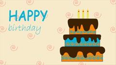 Happy birthday animation. Birthday cake. Video animation Stock Footage