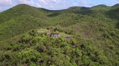 Aerial view of the ruins at Waterlemon Cay Stock Footage
