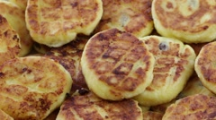 Rotation healthy homemade cheese pancakes on background. Close up Stock Footage