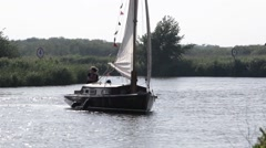 Sailing on the Norfok Broads Stock Footage