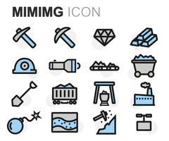 Vector flat line mining icons set Stock Illustration