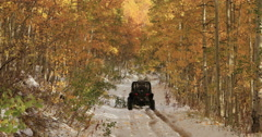 Sport recreation off road winter snow autumn leaves DCI 4K Stock Footage