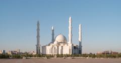 Hazrat Sultan Mosque at sunset. Almaty, Kazakhstan. TimeLapse Stock Footage