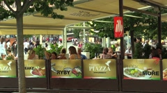 Authentic people in luxury garden restaurant, waitress, Czech Republic Stock Footage