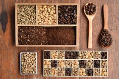Different coffee forms in wooden box and coffee bean in wooden spoon Stock Photos