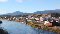 Whitehorse Yukon Downtown from above Stock Footage