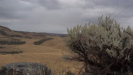 From mountain sage brush-black rock-Powerlines fade to distance Stock Footage