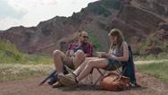 Couple Enjoying Camping Trip Stock Footage