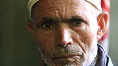 Portrait old muslim man in the market. Srinagar, India Stock Footage