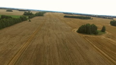 Flying over the ruts from the machine in a wheat field Stock Footage