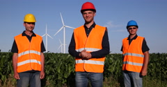 Wind Turbine Electricity Engineer Men Smiling Thumb Up Sign Looking Camera Field Stock Footage
