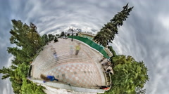Little Tiny Planet 360 Degree, in Mariinsky Park Stock Footage