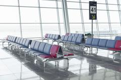 Modern Airport Lounge Seat Rows Stock Photos