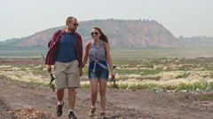 Adventurous Couple on Trekking Trip Stock Footage