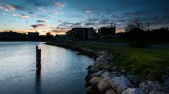 Time Lapse - Sunrise at Swan River, Fremantle, Australia. Camera Pan to top Stock Footage