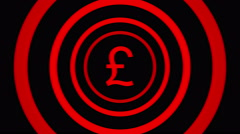 Falling pound  sign surrounded by red circles - visual illusion. Stock Footage