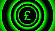 Growing pound sign surrounded by green blurred circles - visual illusion. Stock Footage