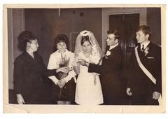 Solemn ceremony of marriage at registry office (vintage photo,1960s) Stock Photos