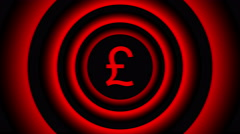 Falling pound sign surrounded by red blurred circles - visual illusion. Stock Footage