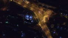 Aerial photo of traffic on the roads of the night city Stock Footage