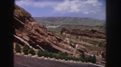 1958: a beautiful desert and rugged mountain ridgeline with a bright blue sky Stock Footage