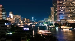 4K Bangkok Chao Praya night river view time lapse with boats passing, Thailand Stock Footage