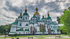 Kiev Motion Timelapse, Kiev Sophia Cathedral Stock Footage